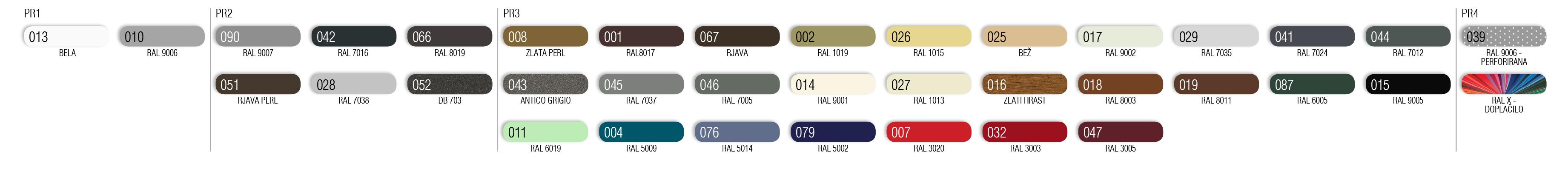Barvni vzorec lamel C-65, F-80