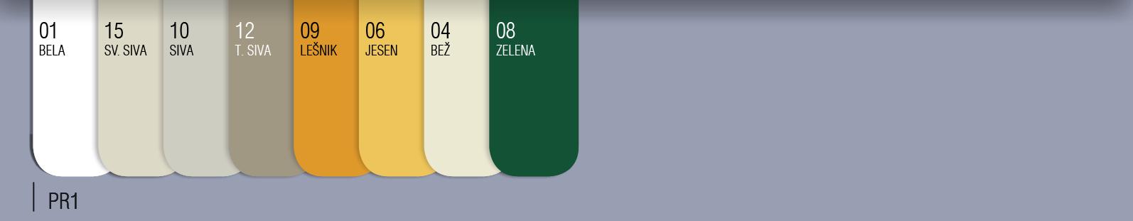 Barvni vzorec lamel 39mm - PVC