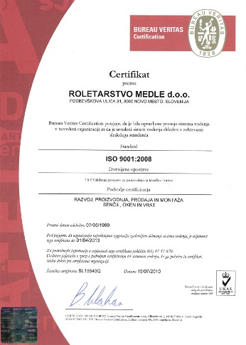 certificate bureau veritas iso 9001 2008 roletarstvo medle. Black Bedroom Furniture Sets. Home Design Ideas